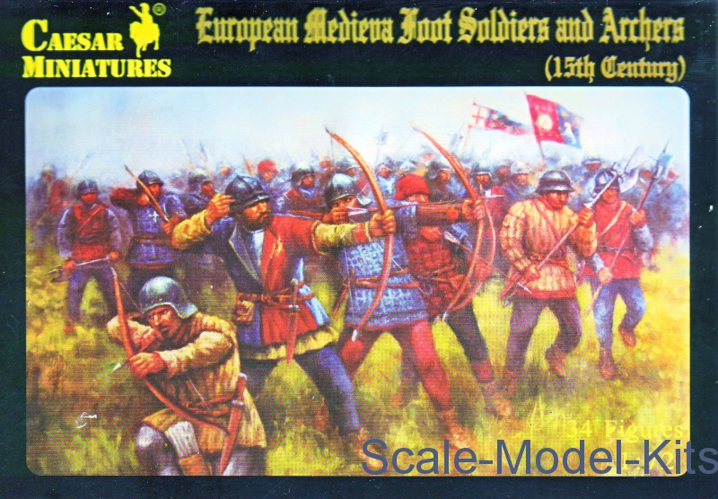 15th Cent Caesar Miniatures 1//72 088 European Medieval Foot Soldiers /& Archers