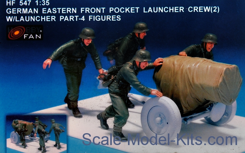 German eastern front pocket launcher crew, set 2 with launcher part (resin)