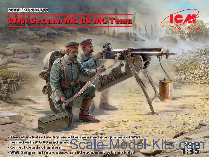 WWI German MG08 MG Team (2 figures)