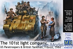 MB35164 101th light company. US Paratroopers and British Tankman, France, 1944